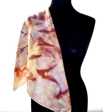 Платок шелковый жаккард персиковый с розовым бежевым  коричневым и сир ручной работы на заказ