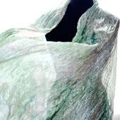 Шарф шёлковый светло зеленый с бледно розовым