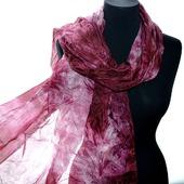 Шарф розово бордовый натуральный шелк шибори ручная окраска