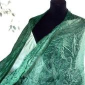Шарф серо изумрудный широкий длинный женский шёлковый шарф