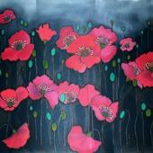 Палантин шарф батик красные маки на серо черном фоне, атлас