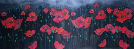 Палантин шарф батик красные маки на серо черном фоне, атлас ручной работы на заказ