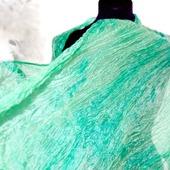 Мятный шарф широкий длинный женский шёлковый шарф