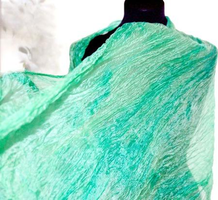Мятный шарф широкий длинный женский шёлковый шарф ручной работы на заказ