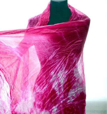 Шелковый шарф малиново розовый натуральный шелк эксельсиор ручной работы на заказ