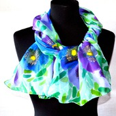 Шёлковый шарф батик  шелк шифон, шарф с росписью цветочный