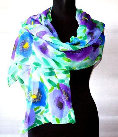 Шёлковый шарф батик  шелк шифон, шарф с росписью цветочный ручной работы на заказ