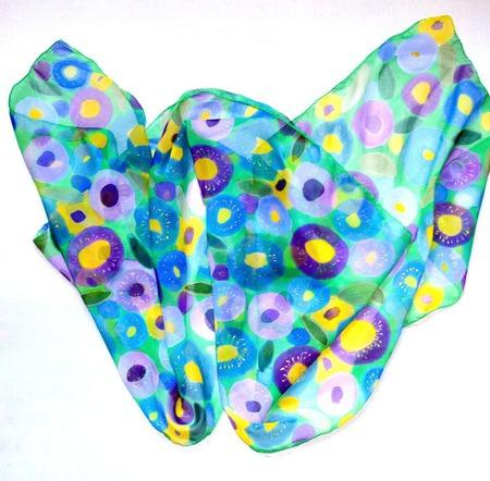 Шарф весенний яркий шёлковый батик  шелк шифон, шарф с росписью ручной работы на заказ