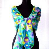 Шарф весенний яркий шёлковый батик  шелк шифон, шарф с росписью