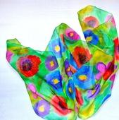 Шарф яркий шёлковый батик  шелк шифон, шарф с росписью