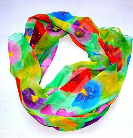 Шарф яркий шёлковый батик  шелк шифон, шарф с росписью ручной работы на заказ
