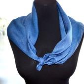Серо голубой платок женский шейный шелковый жаккард