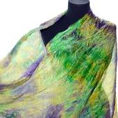 Большой шелковый шарф ручная окраска, натуральный шёлк