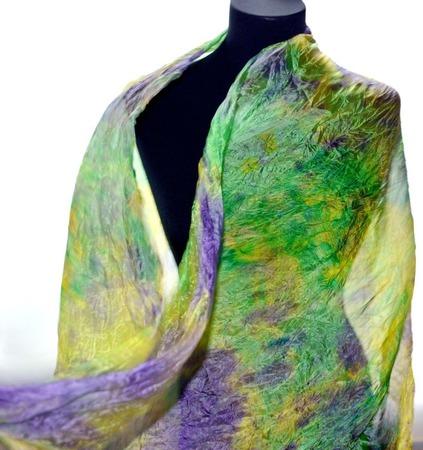 Большой шелковый шарф ручная окраска, натуральный шёлк ручной работы на заказ