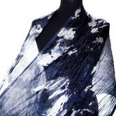 Черно сине белый шарф палантин шёлковый подарок женщин