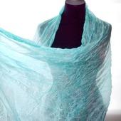 Шарф светло бирюзово голубой широкий длинный женский шёлковый шарф