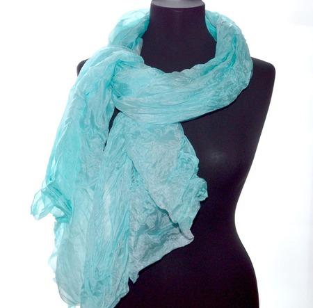 Шарф светло бирюзово голубой широкий длинный женский шёлковый шарф ручной работы на заказ