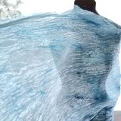 Серо голубой шелковый шарф палантин длинный широкий