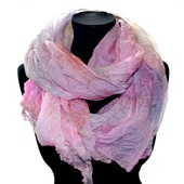 Женский шелковый шарф палантин розово персиковый с серым бежевым