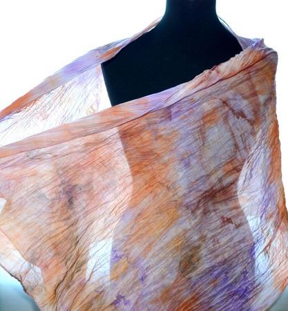 Шарфик хлопок и шёлк сиренево оранжевый купить шарф женский ручной работы на заказ