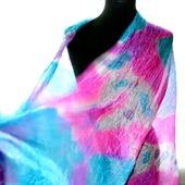 Шарф бирюзово фиолетовый с фуксией и белым  шарф шёлковый купить