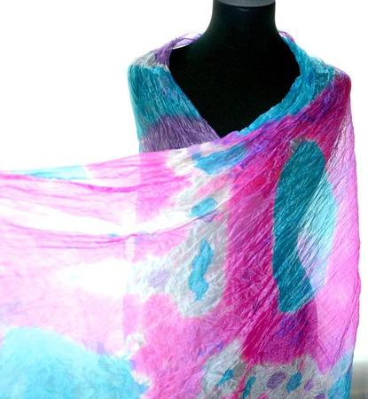 Шарф бирюзово фиолетовый с фуксией и белым  шарф шёлковый купить ручной работы на заказ