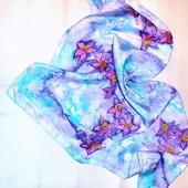 Платок шелковый батик натуральный шелк туаль, ручная роспись, подарок