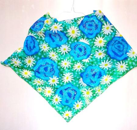 Большой шелковый платок-батик цветочный рисунок светлый платок ручной работы на заказ