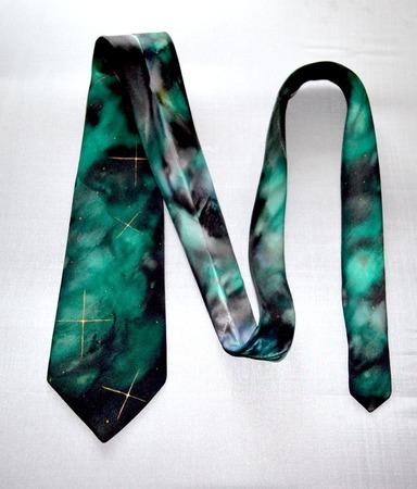 Галстук космический изумрудно черный шёлковый  подарок мужчине, ручной работы на заказ