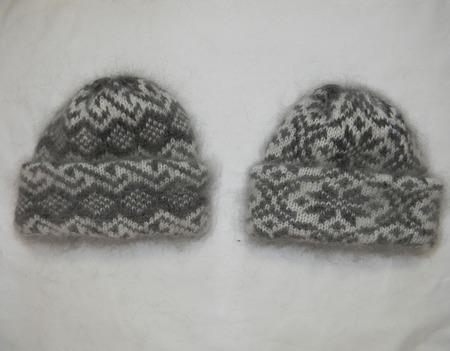 Двойные шапки с отворотом ручной работы на заказ