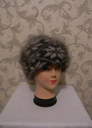 Двойная шапка с отворотом 3 ручной работы на заказ