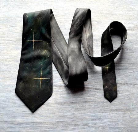 Серо коричневый космический галстук шёлковый  подарок мужчине, ручной работы на заказ