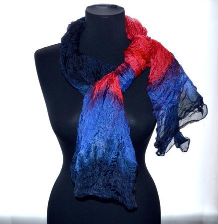 Шарф женский красно сине чёрный шарф шёлк купить подарок ручной работы ручной работы на заказ