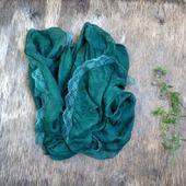 Изумрудно зелёный шарф палантин шёлковый  длинный
