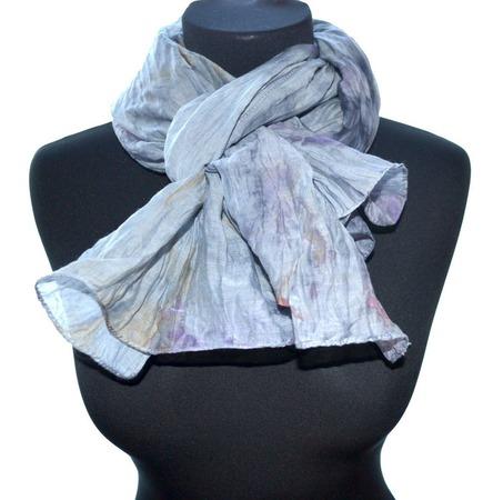 Серый шарф хлопок и шёлк купить шарф женский, подарок шарф ручной работы на заказ