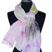 Шарф женский, шарф хлопок и шёлк акварельные цвета натуральная ткань