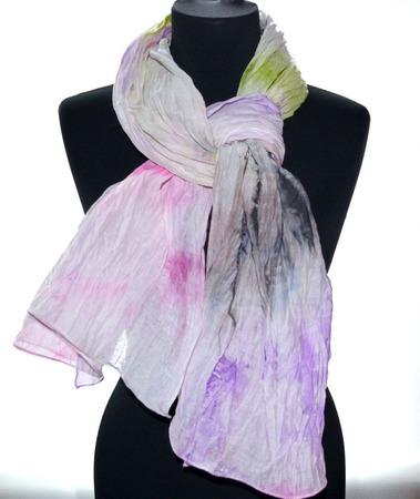 Шарф женский, шарф хлопок и шёлк акварельные цвета натуральная ткань ручной работы на заказ