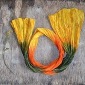 Шарф женский желто оранжево зелёный шарф шёлк с хлопком