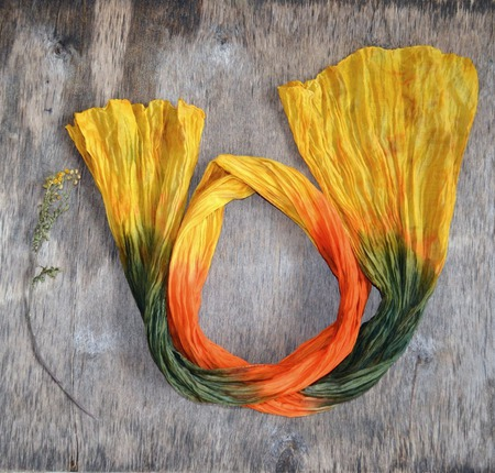 Шарф женский желто оранжево зелёный шарф шёлк с хлопком ручной работы на заказ
