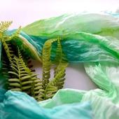 Шарфик женский шарф хлопок и шёлк акварельные цвета натуральная ткань