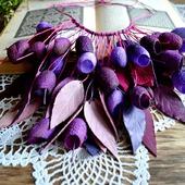 Колье из коконов шелкопряда и кожи, бордово фиолетовоенеобычное колье