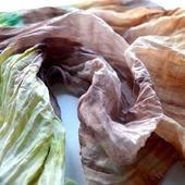 Шарф женский зелёно бежево коричневый хлопок и шёлк акварельные цвета