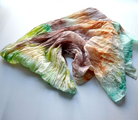 Шарф женский зелёно бежево коричневый хлопок и шёлк акварельные цвета ручной работы на заказ