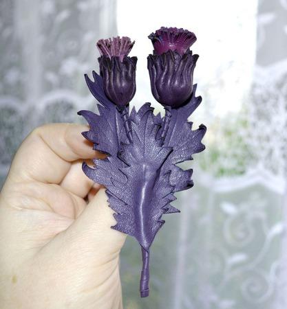 Чертополох брошь фиолетовая цветок брошь в подарок брошь подарок маме ручной работы на заказ