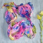 Шарфик шелковый, шарф батик. женский, разноцветный