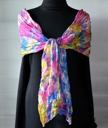 Шарфик шелковый, шарф батик. женский, разноцветный ручной работы на заказ
