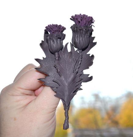 Чертополох брошь цветок брошь в подарок брошь из кожи подарок маме ручной работы на заказ