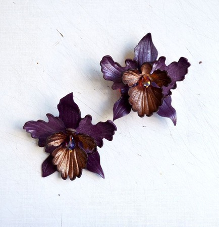 Орхидея кожаная брошь и заколка ручной работы на заказ