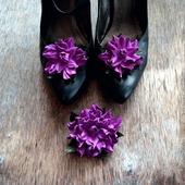 Клипсы для туфель и брошь, натуральная кожа цвета фуксии
