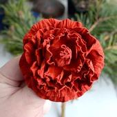 Роза брошь из кожи замши цветок роза кораллово красная